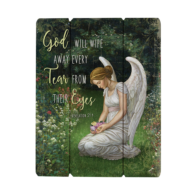 Angel memorial wood wall plaque