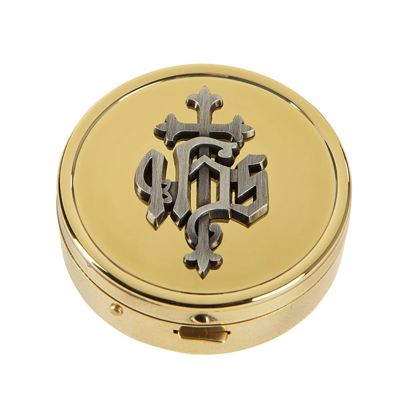 IHS Cross Pyx Holder Or Pill Holder 24 KT Gold Plated  PRIEST GIFT