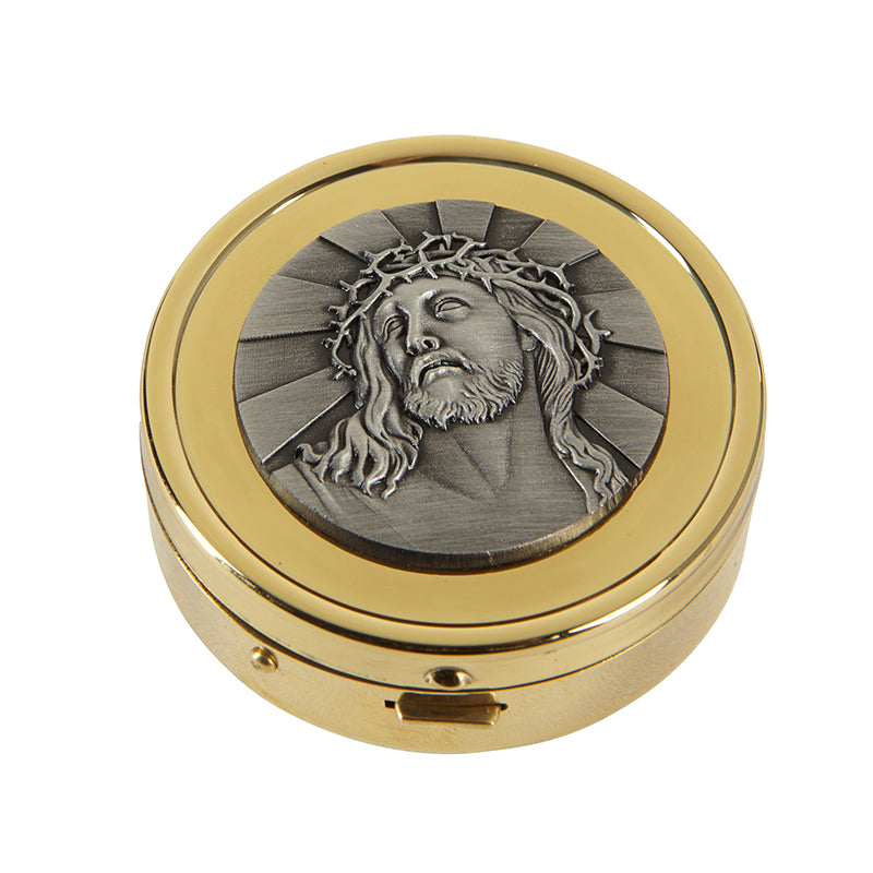 Ecce Homo - Jesus Crucified  Pyx Holder Or Pill Holder 24 KT Gold Plated