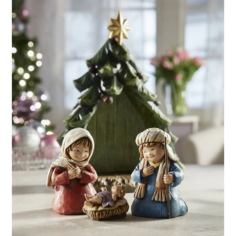 Children's Nativity Christmas Tree With Removable Figures
