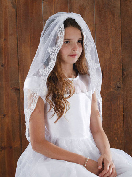 Girls White Lace First Communion Veil 36""