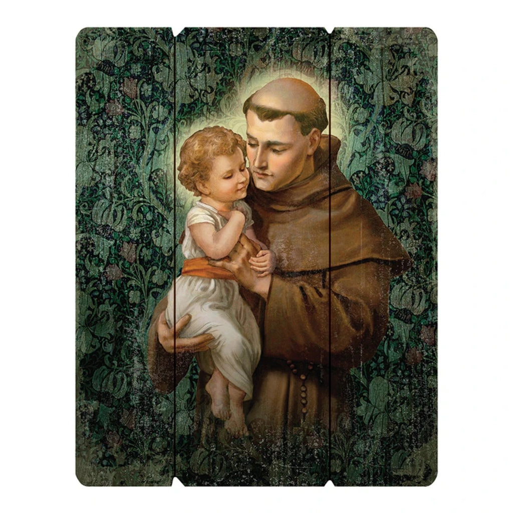 Saint Anthony wooden wall plaque