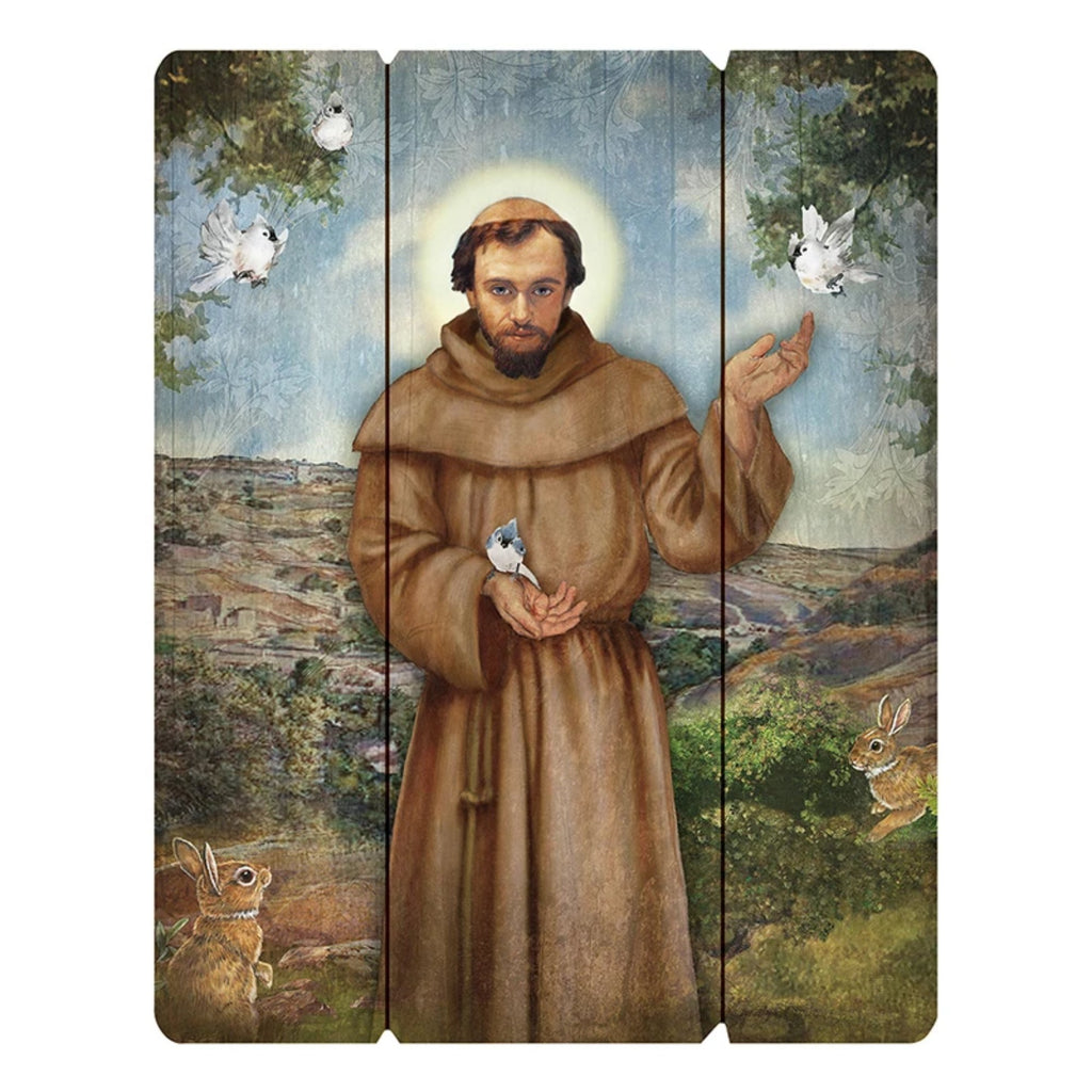 Saint Francis Wood Pallet wall plaque
