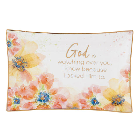 God Is Watching Floral Ceramic Trinket Tray