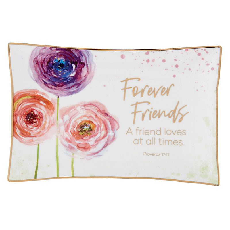 Forever Friends Floral Ceramic Trinket Tray