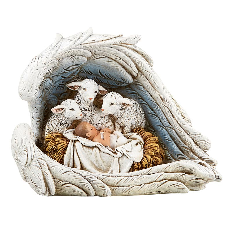 Baby Jesus In Manger With Sheep