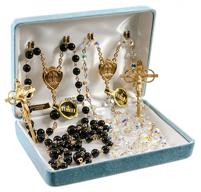 Wedding Rosary Set Swarovski Crystal Aurora Borealis Beads And Onyx Beads