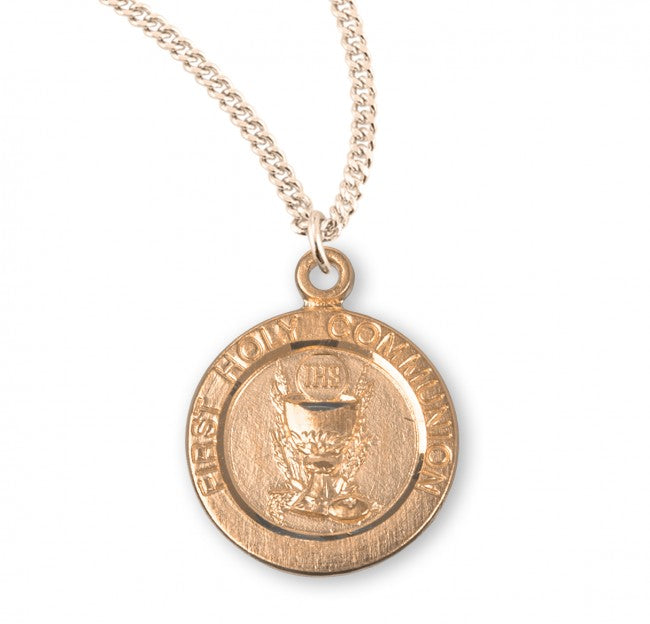 First Communion Chalice Medal On Chain Gold Over Silver