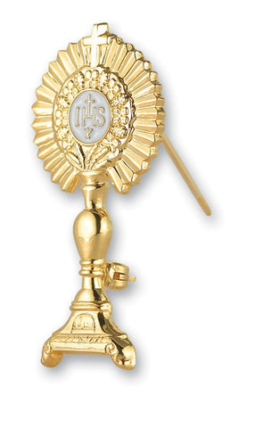 IHS Gold Over Sterling Monstrance Broach or Lapel Pin