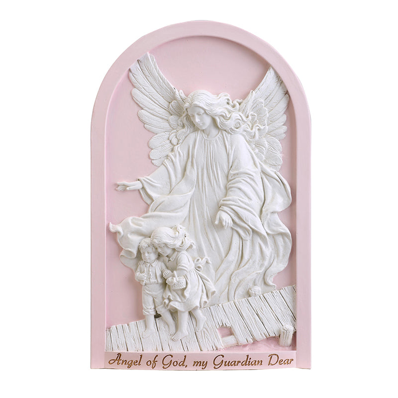 Pink Guardian Angel Wall Plaque