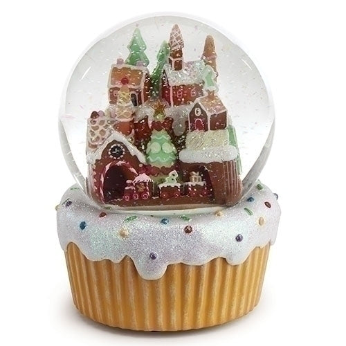 Musical Gingerbread House Water Globe Plays We Wish You A Merry Christmas Rotating Train