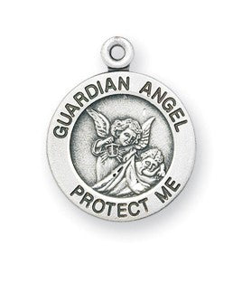 Guardian Angel Protect Me Sterling Silver Devotion Medal On Chain