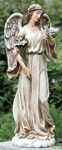 Guardian Angel Holding Dove With Flowers Garden Statue