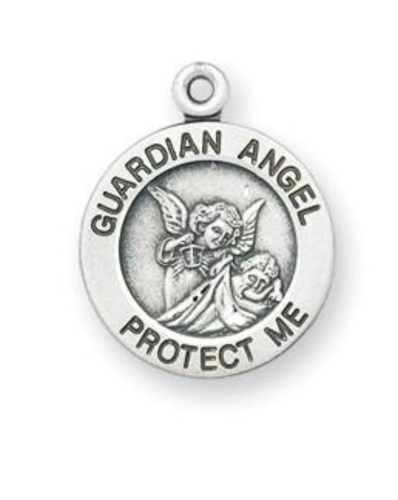 Sterling SIlver Guardian Angel Protection Medal Baptism Or Birth Gift
