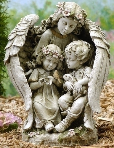 Guardian Angel With Children And Bunny Garden Statue