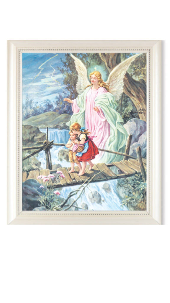 Guardian On Bridge With Children Print In Pearl Frame With Glass