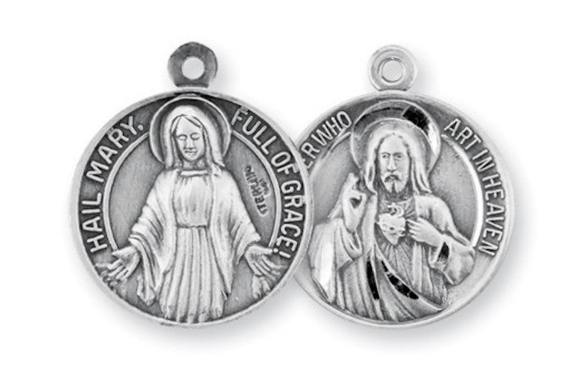 Hail Mary and Our Father sterling silver medal