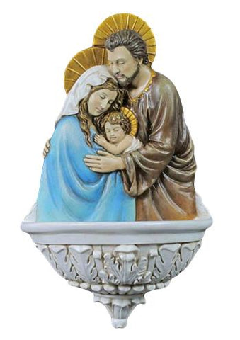Holy Family Water Font In Full Hand Painted Color Church Chapel Or Home Prayers