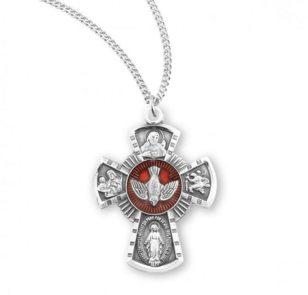 Holy Spirit Sterling Silver Red Enameled 4 Way Cross