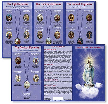 How to Pray the Rosary Pocket Card Set of 24