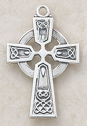 Irish Celtic Sterling Silver Cross on Chain