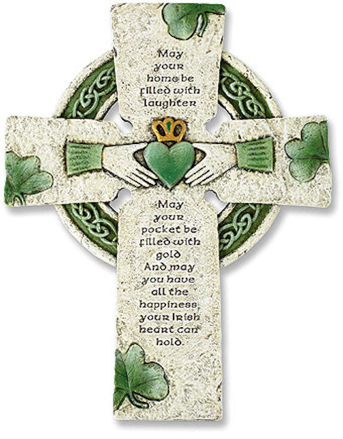 Irish Celtic Claddagh Blessing Wall Cross