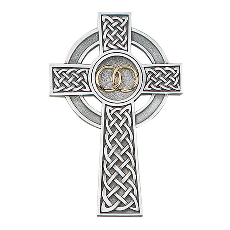 Celtic Irish Wedding Cross Pewter And Gold