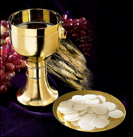 Simple Brass And Gold Matte Finish Chalice With Paten Altar Set