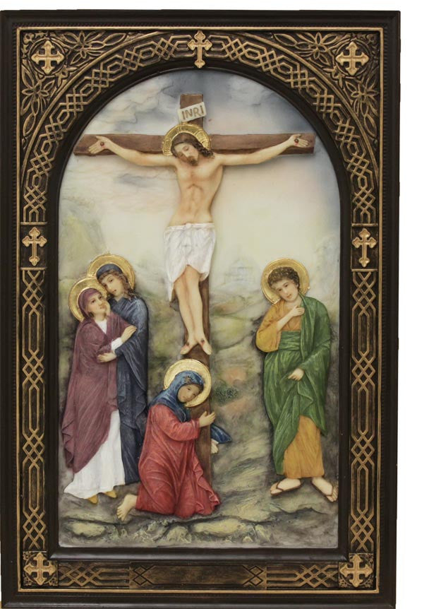 Jesus Crucifixion Icon Plaque Hand Painted In Full Color