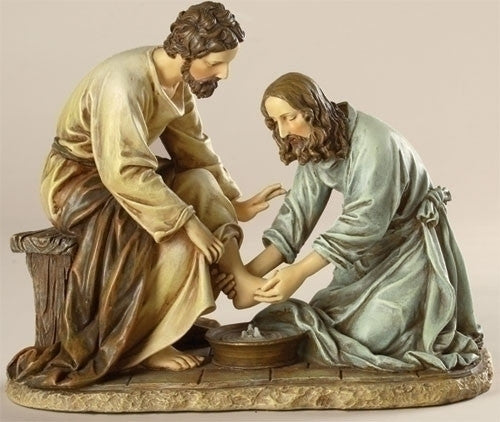 Jesus Washing Feet Of Disciple Figure Renaissance Collection