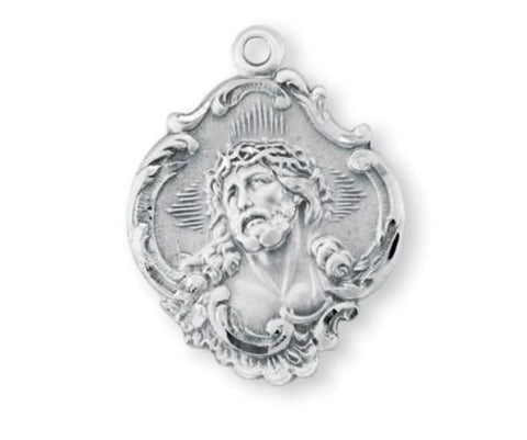 Sterling Silver Jesus With Crown Of Thorns Fancy Baroque Style Medal