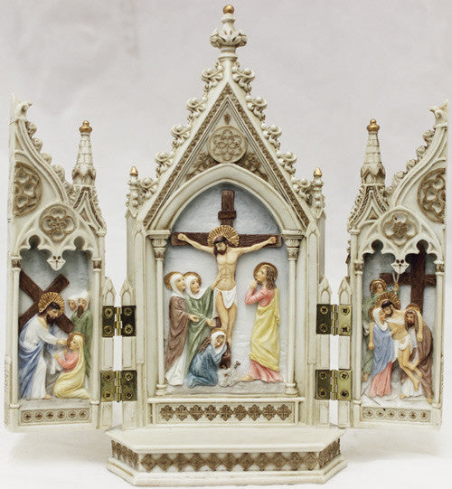 Jesus Crucifixion Triptych Full Color Statue With Opening Doors