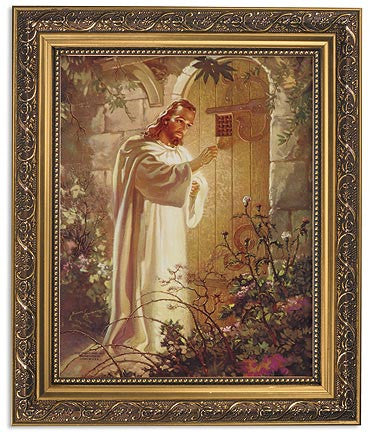 Jesus Knocking On Door Print In Ornate Gold Frame By Warner Sallman