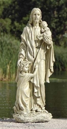 "Jesus With Children Garden Statue 24"" Tall"