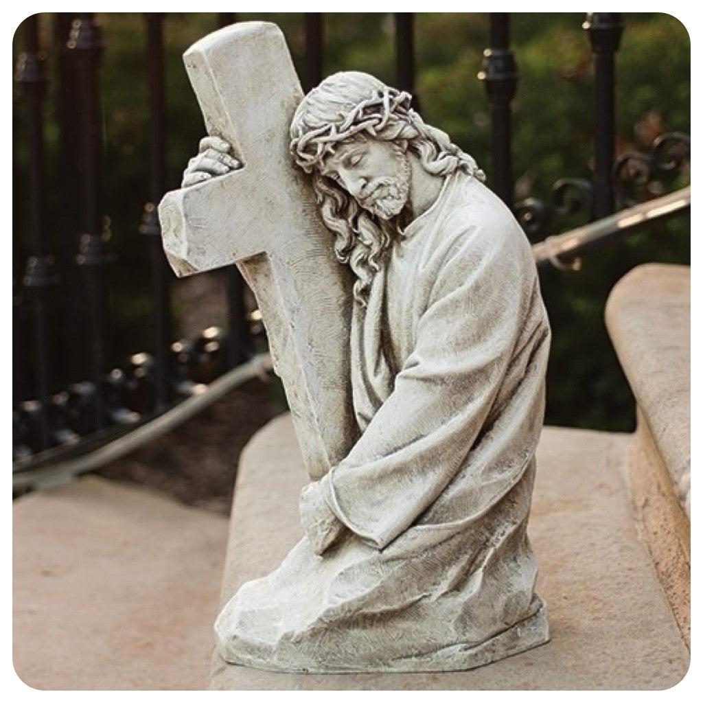 Jesus Holding Cross With Crown Of Thorns Garden Or Memorial Statue