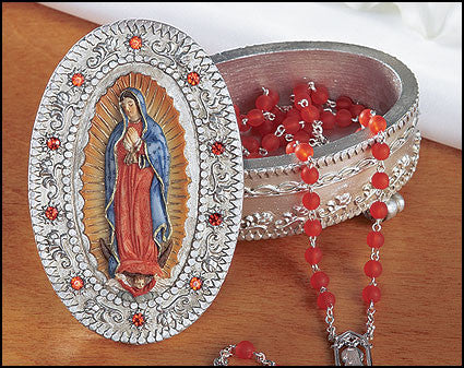 Our Lady of Guadalupe Ornate Rosary Box -  Virgin Mary