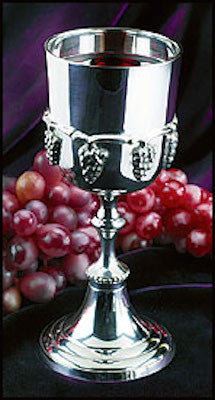 Silver Plated Communion Cup With Grapes
