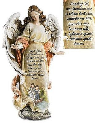Guardian Angel with Children Prayer Statue  Figures of Faith