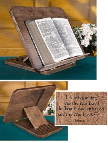 Maple Bible Stand Adjusts To 6 levels Church Chapel Home The Word John 1:1