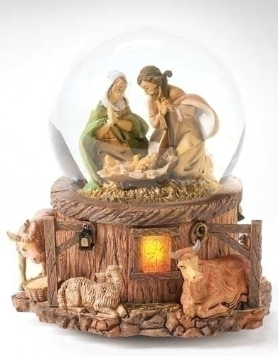 Light Up Holy Family Nativity Dome Plays Silent Night By FONTANINI