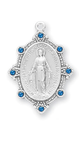 Sterling Silver Oval Madonna Miraculous Medal With Sapphire Austrian Crystals