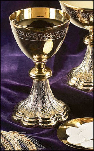 Brass grapes and wheat paten and chalice set for church