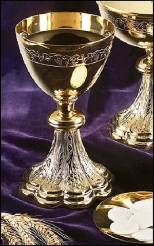 Church Chalice And Paten Communion Set With Grapes And Wheat