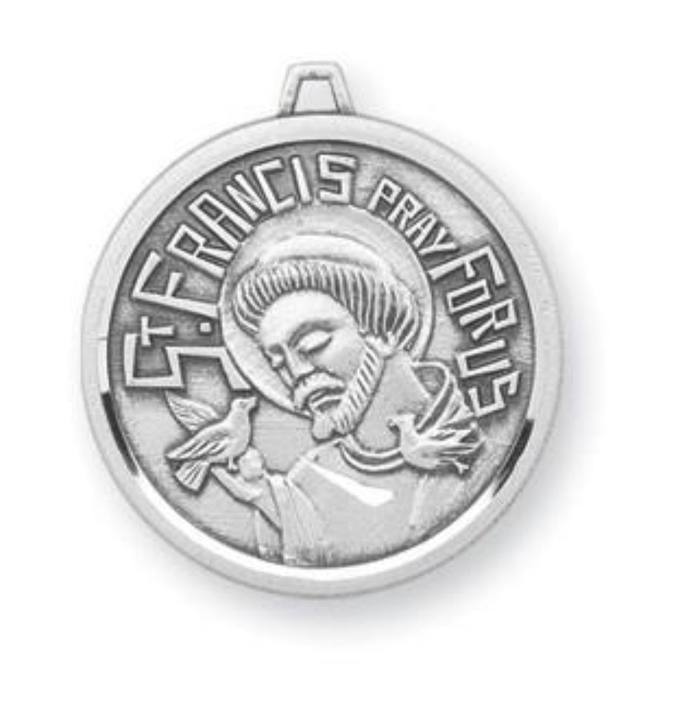 6c2632ad4e4 French Style Sterling Silver Saint Francis With Bird Pendant ...