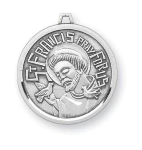French Style Sterling Silver Saint Francis With Bird Pendant
