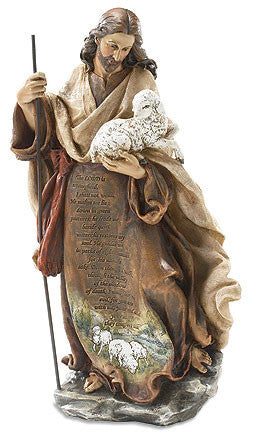 "Jesus the Good Shepherd Prayer Statue 12 1/4"" tall"