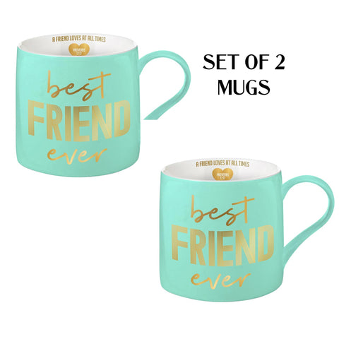 BEST FRIENDS  - A FRIEND LOVES AT ALL TIMES MUGS SET OF 2