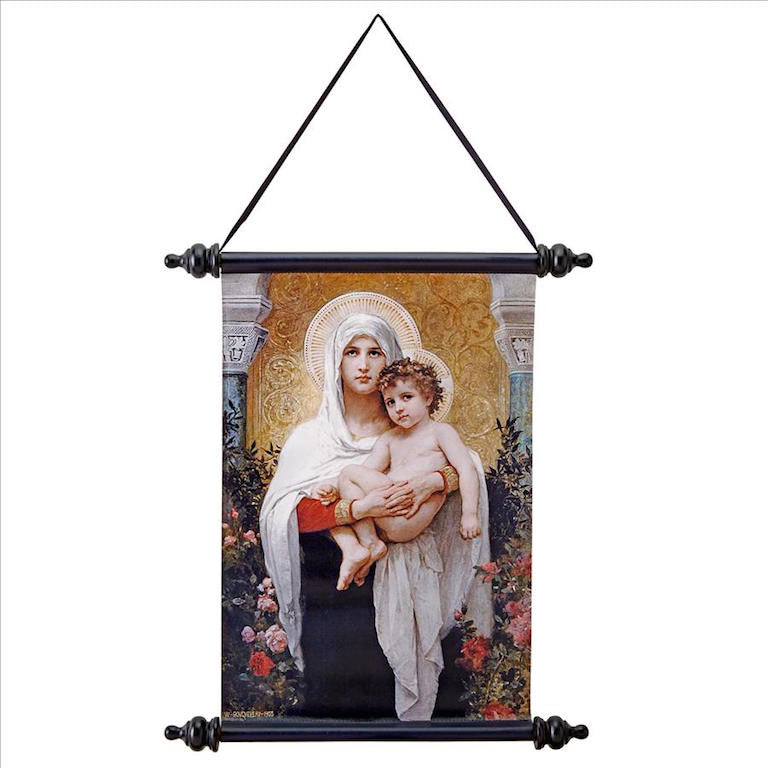 Madonna And Child Roses Wall Scroll Catholic Art