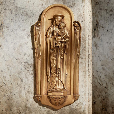 Ornate Madonna And Child Wall Sculpture