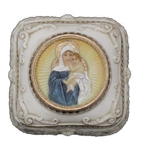 Madonna and Child Jesus Rosary Box  Hand Painted
